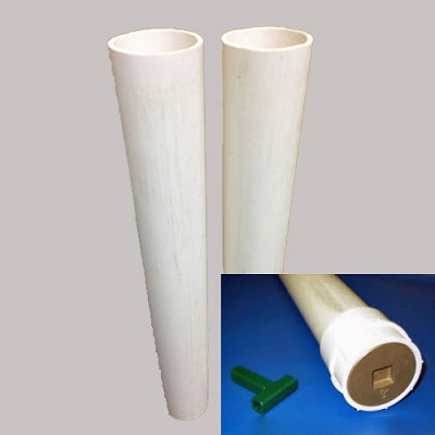 "Douglas PVC 24"" Ground Sleeves For 2-7/8"" Round Posts w/Brass Cap"